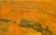 Remembering Assisi, oil on panel, 30 x 80 inches, 2006