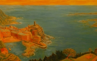 Remembering Liguria, oil on panel, 36 x 80 inches, 2006