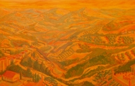 Remembering Perugia, oil on panel, 30 x 80 inches, 2006