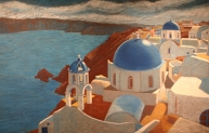 Wishing for Santorini, pastel on chalkboard, 2009