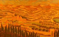 Remembering Umbria, oil on panel, 30 x 80 inches, 2006